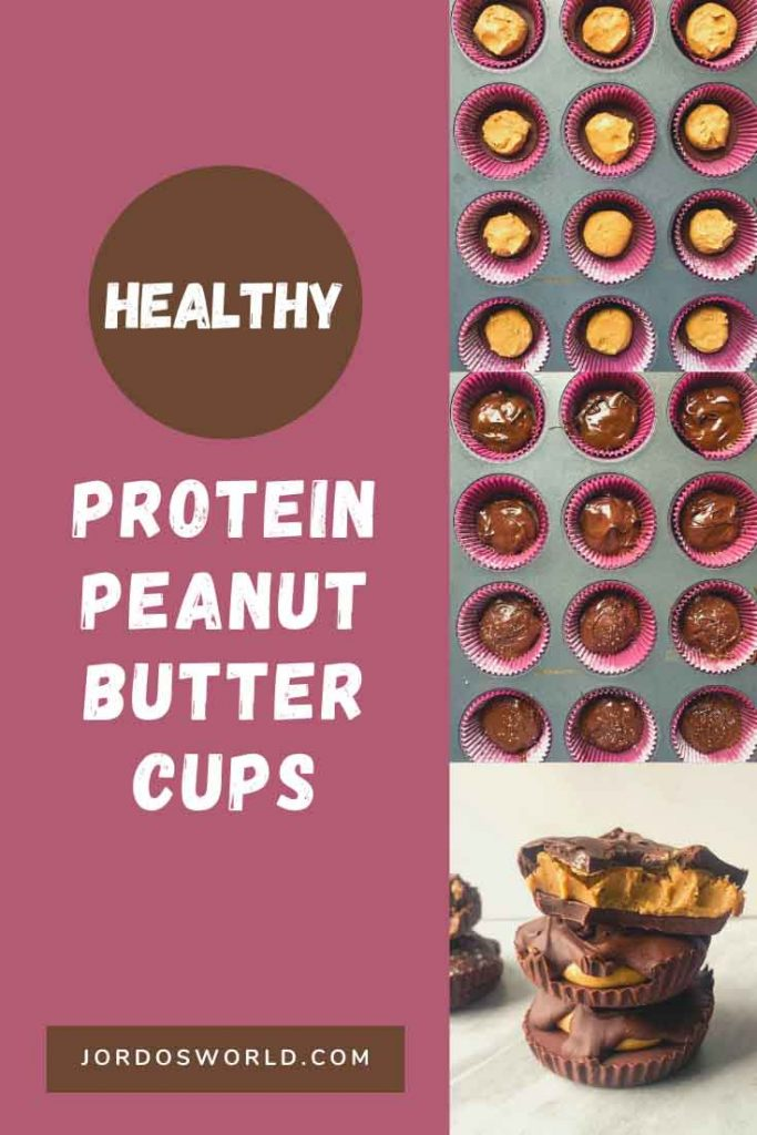 This is a pinterest pin for healthy peanut butter cups. There are the steps seen on the image with the peanut butter cups in the muffin tins, before and after they have chocolate on them. There is also a pile of peanut butter cups in the corner of the image.