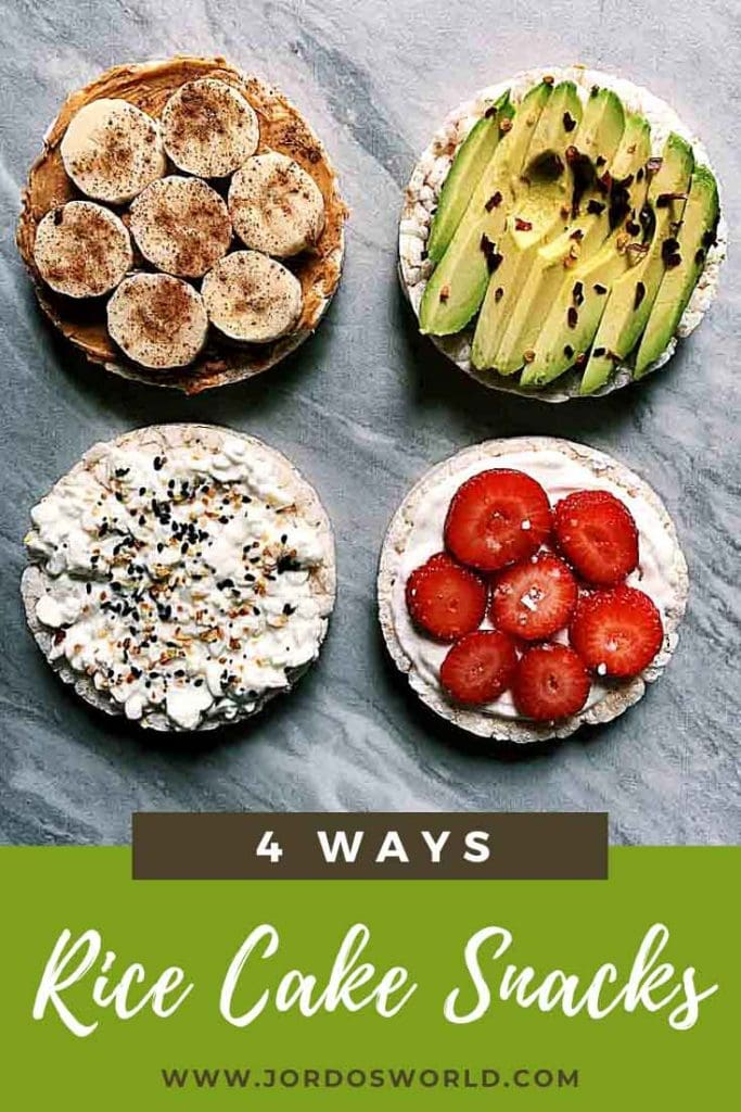 This is a pinterest pin for rice cakes snacks. There are four rice cakes, one with peanut butter and banana, one with avocado slices, one with cottage cheese, and one with yogurt and berries.