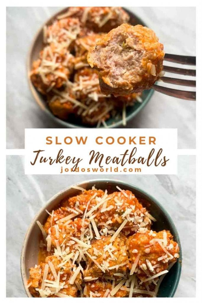 This is a pinterest pin for turkey meatballs. There is a bowl filled with the turkey meatballs covered in sauce and cheese. There is also a picture with a fork holding up one of the meatballs.
