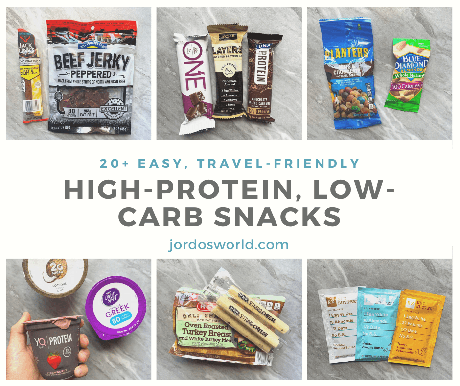 This is a pinterest pin for high-protein, low-carb snacks. There is the title of the post in the middle and snack ideas surrounding it like jerky, protein bars, nuts, yogurt, turkey, cheese sticks, and nut butter packets.