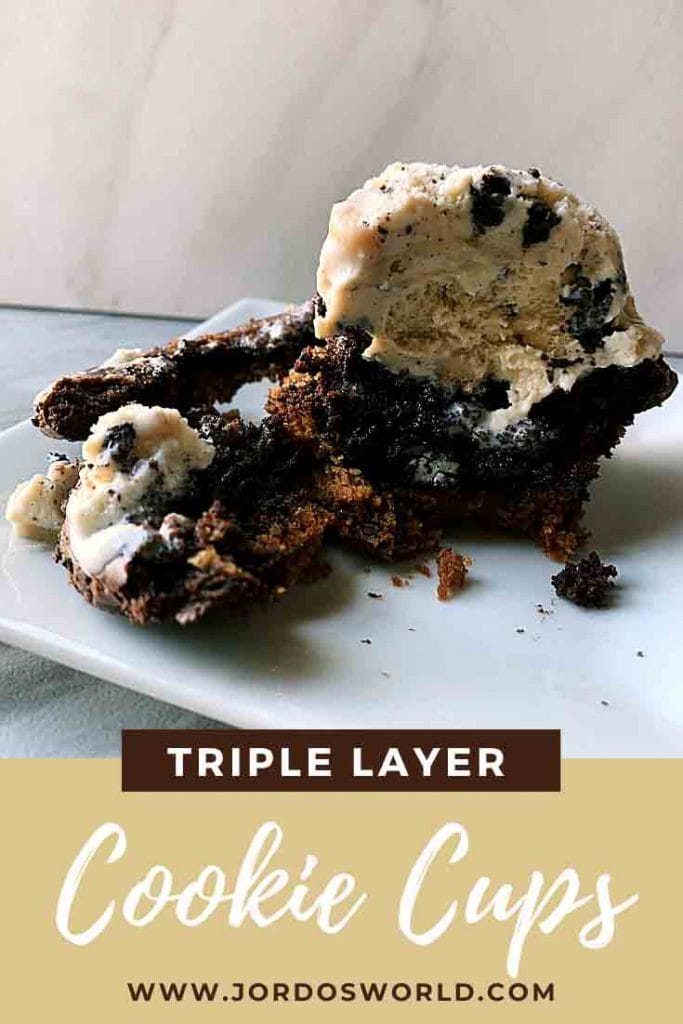 This is a pinterest pin for the triple layer cookie cups. There is a layer of cookie, oreo, brownie, and a scoop of ice cream on top.