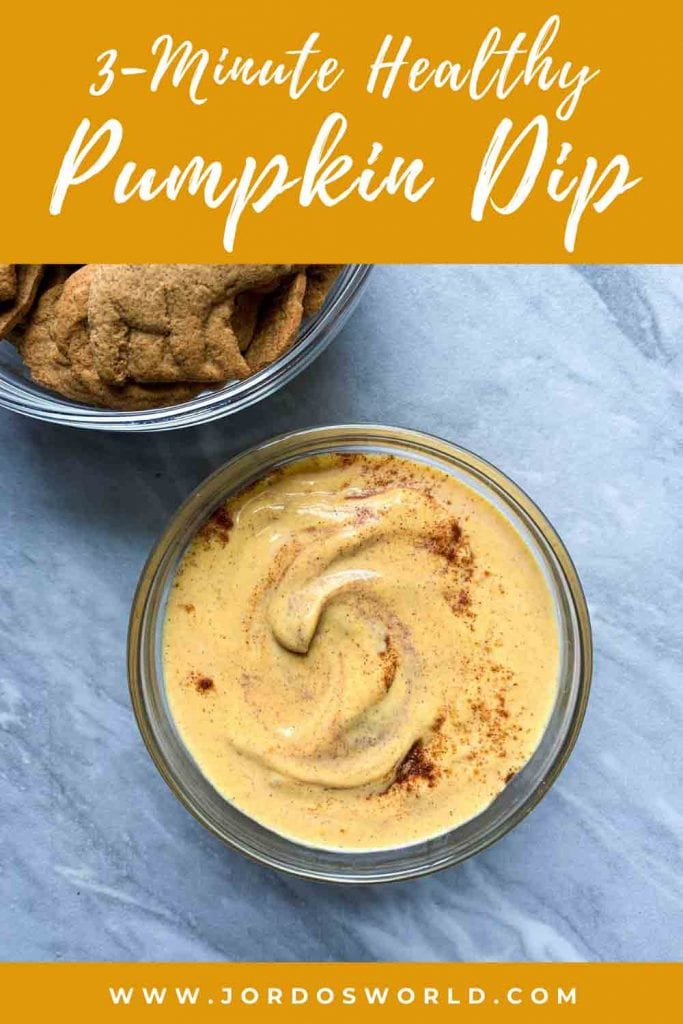 This is a pinterest pin for healthy pumpkin dip. There is a bowl with yellow and light brown dip, sprinkled with cinnamon. There is also a bowl of bear bites next to it.