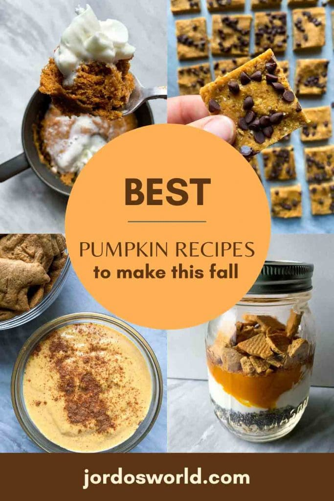 This is a pinterest pin fr the best pumpkin recipes blog post. There are several pumpkin dishes in the background with the title of the post in the middle.