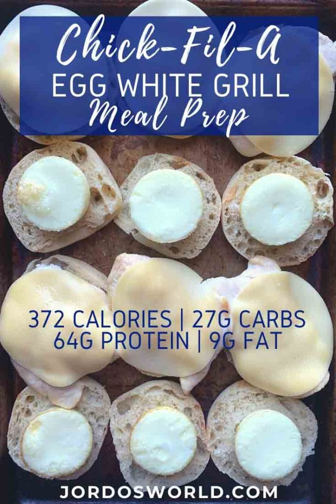 These are copy cat chick-fil-a egg white grills. There are 6 sandwiches laid out in a row, open-faced so you can see the ingredients. The sandwich has an english muffin, cheese, egg white patty, and chicken breast.
