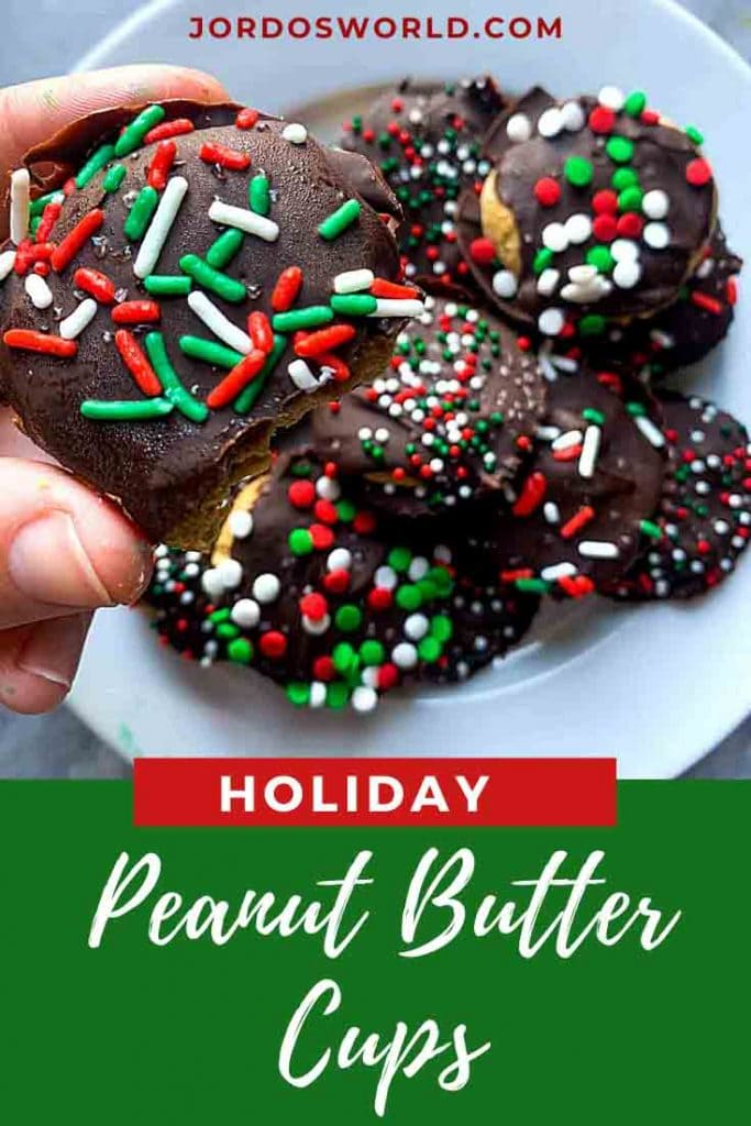 This is a pinterest picture for holiday candy. There are peanut butter cups topped with red and green sprinkles on top.