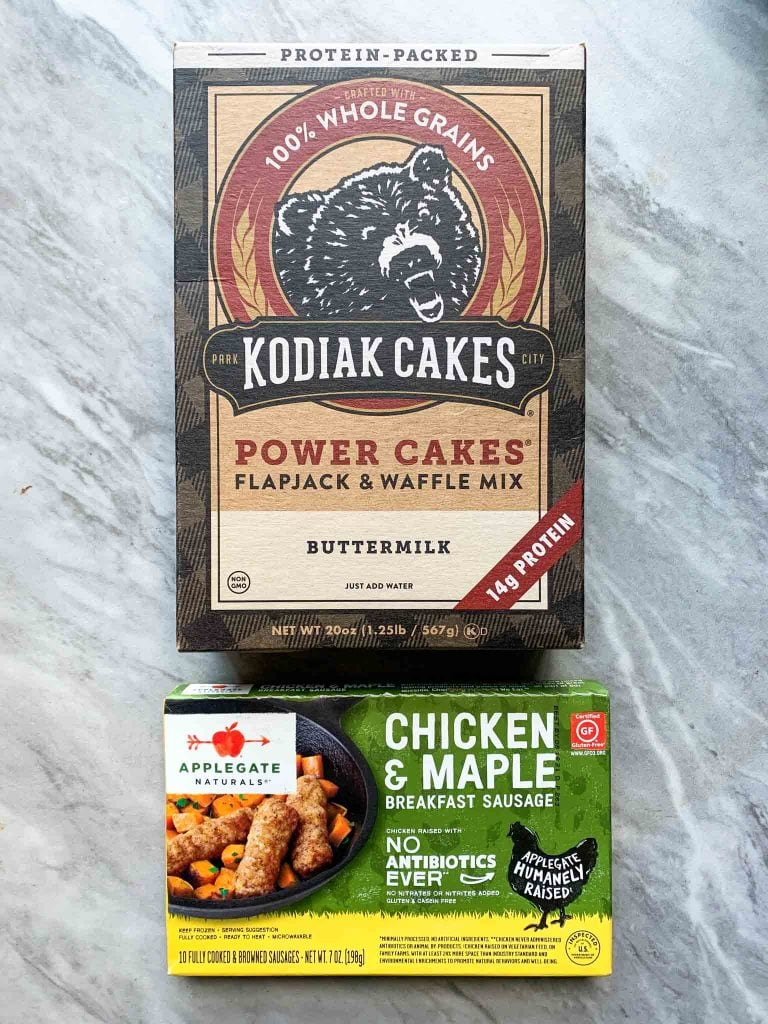These are the ingredients for pancake sausage bites. You only need 3 ingredients -- Kodiak Cakes Pancake Mix, breakfast sausages, and water.