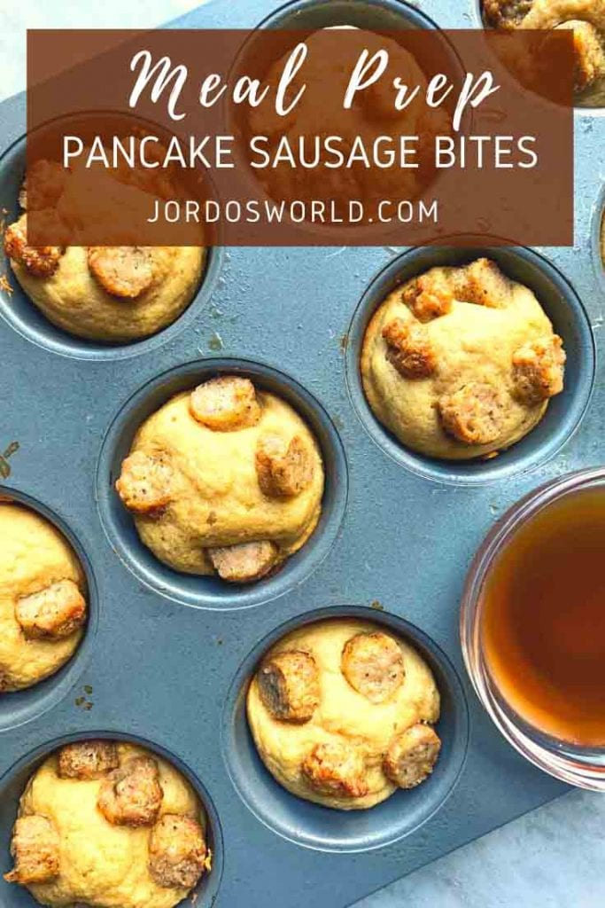 This is a pinterest pin for pancake sausage bites. There is a picture of a muffin tin full of the bites. The title of the recipe is on the pin at well.