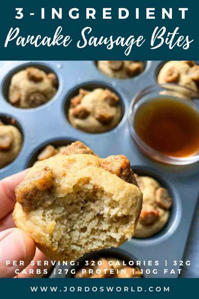 This is a pinterest pin for pancake sausage bites. There is a picture of a hand holding up one of the pancake sausage bites, along with a muffin tin full of the bites. The title of the recipe is on the pin at well.