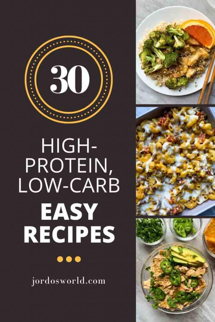 A collage of high-protein, low-carb recipes that includes healthy orange chicken, cheeseburger casserole, and green chili chicken.