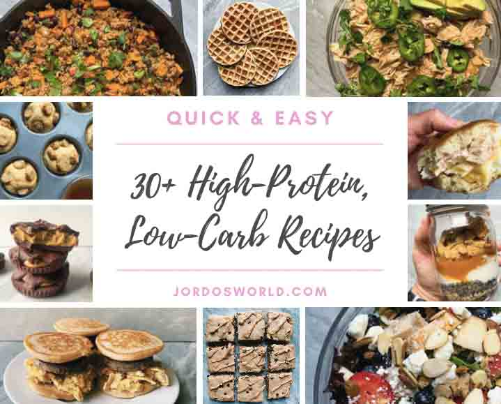 A collage of high-protein, low-carb recipes that includes baked pancakes, green chili chicken, burrito bowls, peanut butter cups, and salads.