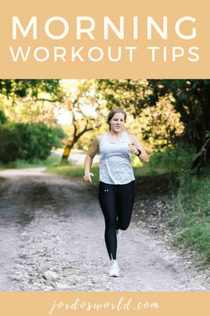 """A girl running with the text """"morning workout tips"""" above her head."""