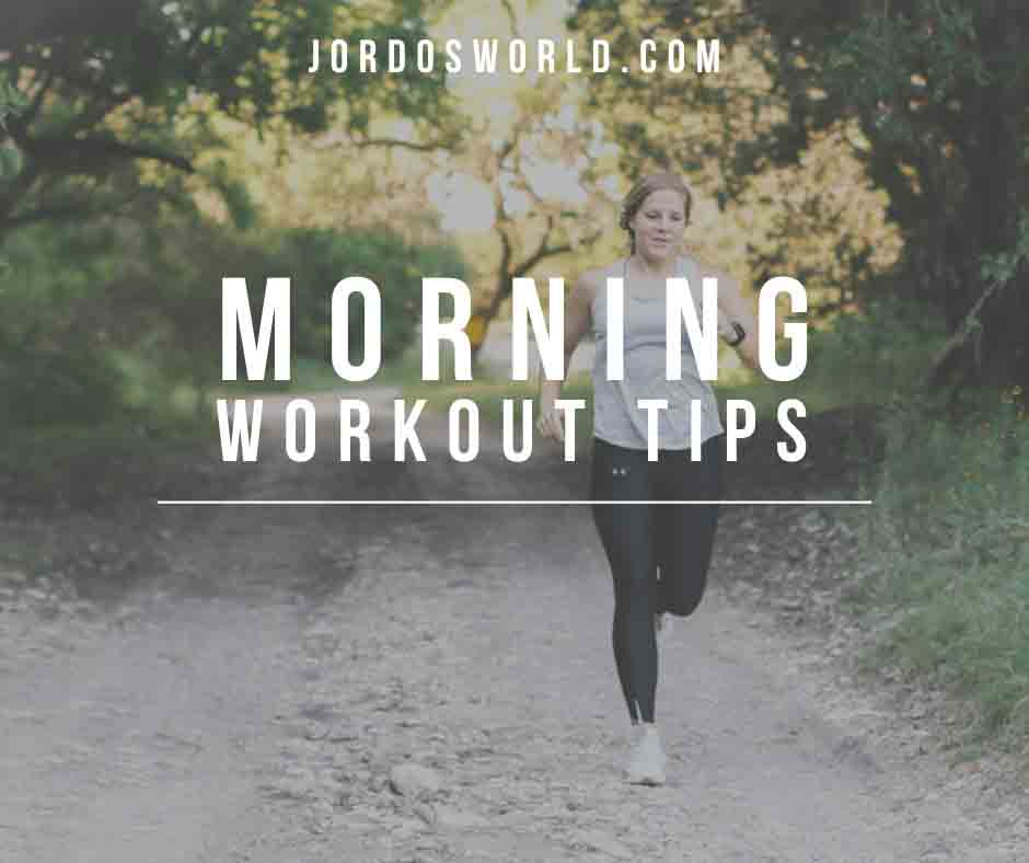 """A girl running with the text """"morning workout tips"""" across her body."""