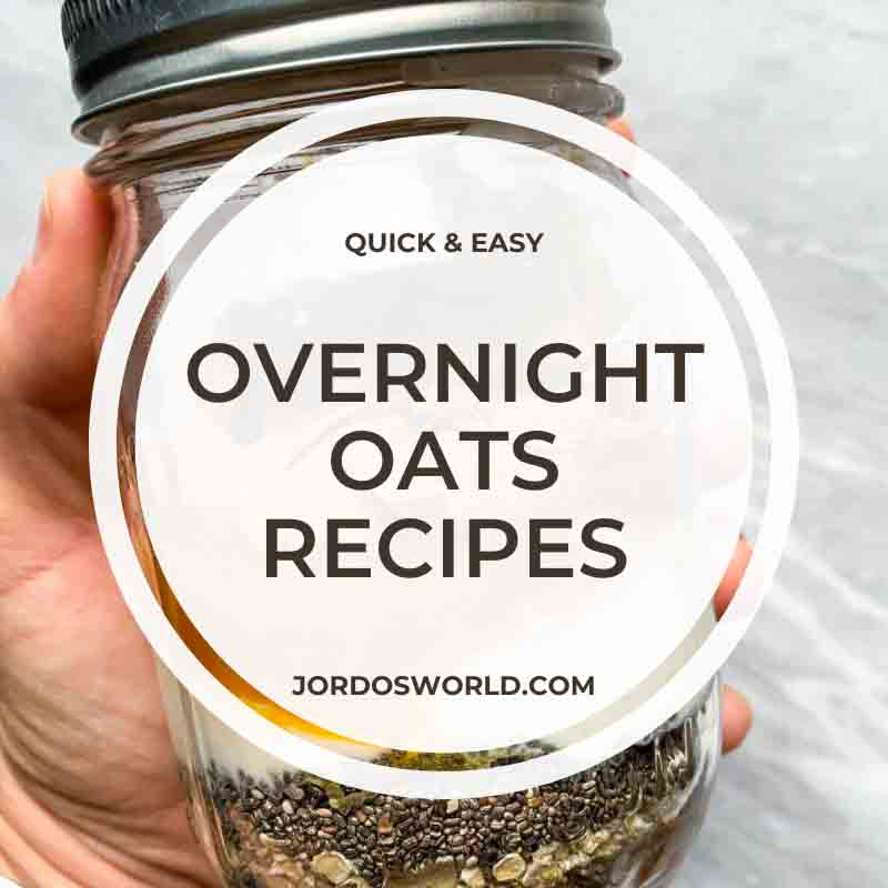 This is a pinterest pin for a blog post about overnight oats recipes. There are several pictures of jars and bowls of oats.