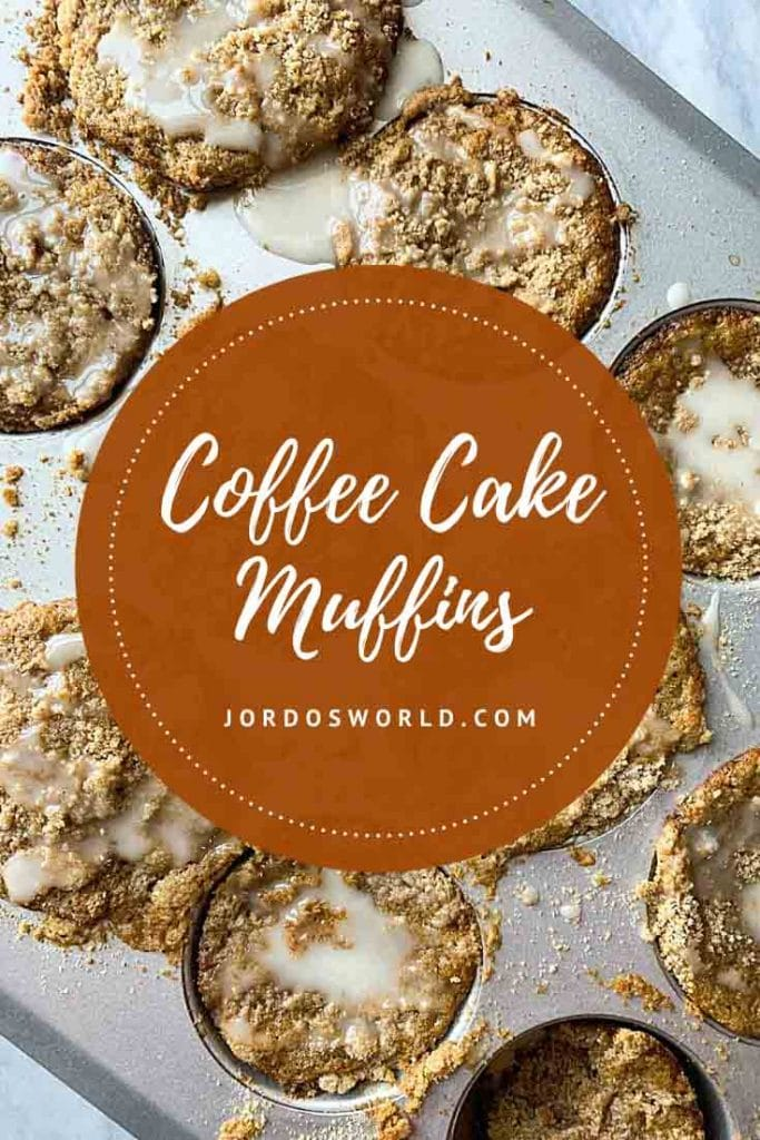 This is a pinterest pin for healthy coffee cake muffins. There is a muffin tin filled with coffee cake cups, topped with crumbles and white icing.