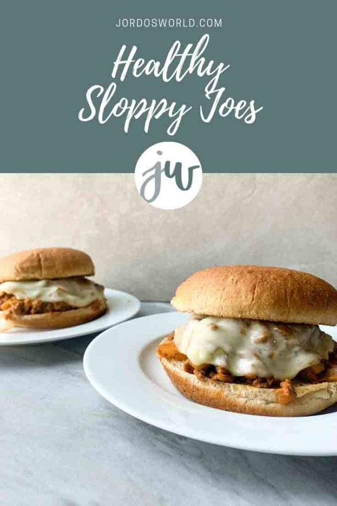 This is a pinterest pin of healthy sloppy joes. There is a small circle white plate with a big toasted whole wheat bun, topped with meat and melted cheese. There is a smaller plate in the back with a sloppy joe on it as well.