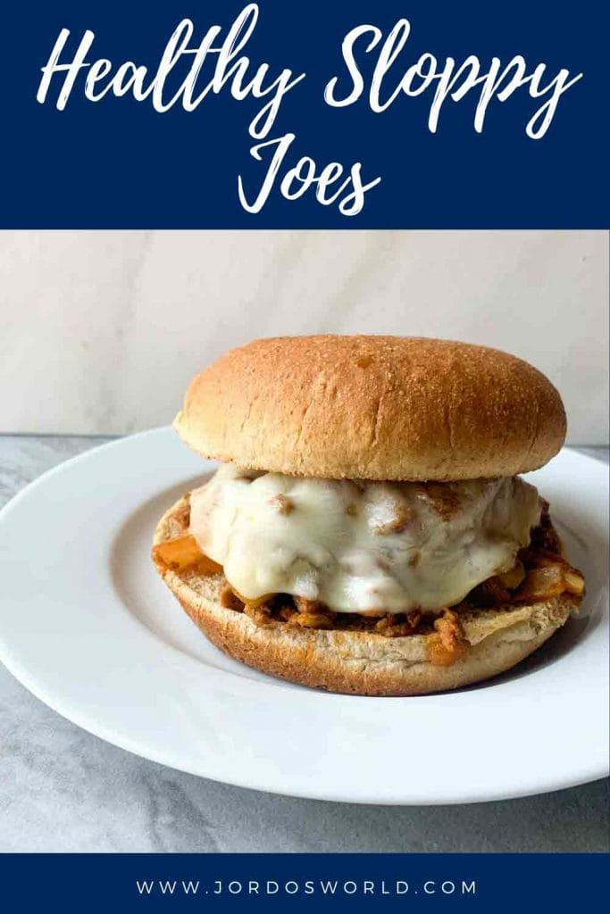This is a pinterest pin of healthy sloppy joes. There is a small circle white plate with a big toasted whole wheat bun, topped with meat and melted cheese.