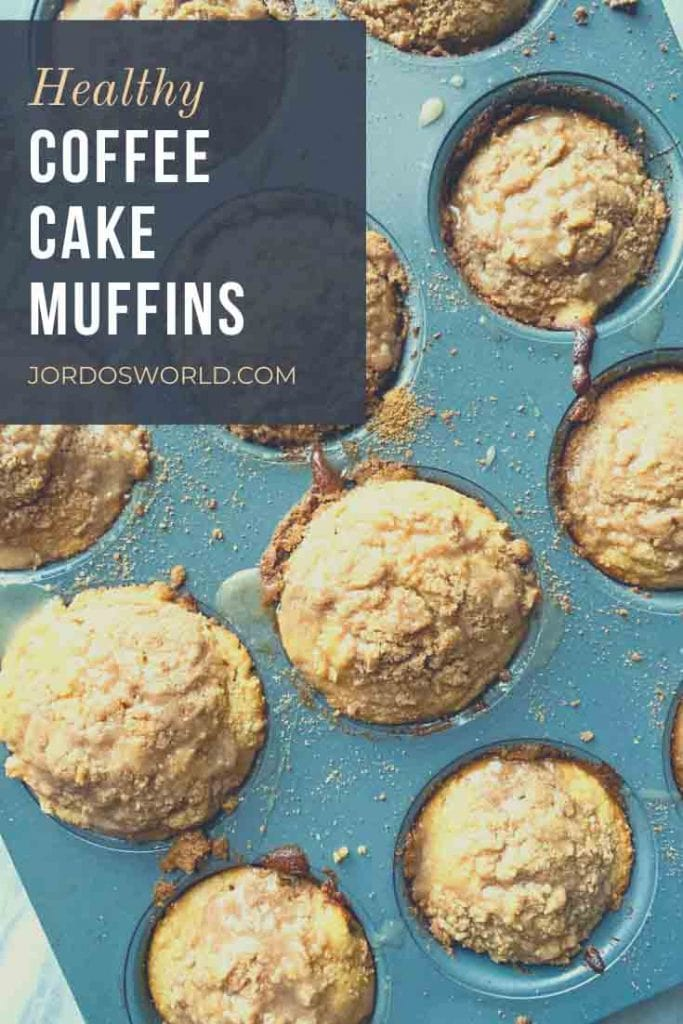 This is a pinterest pin for coffee cake muffins. There is a pan full of coffee cake muffins. There are crumbly muffins topped with icing.