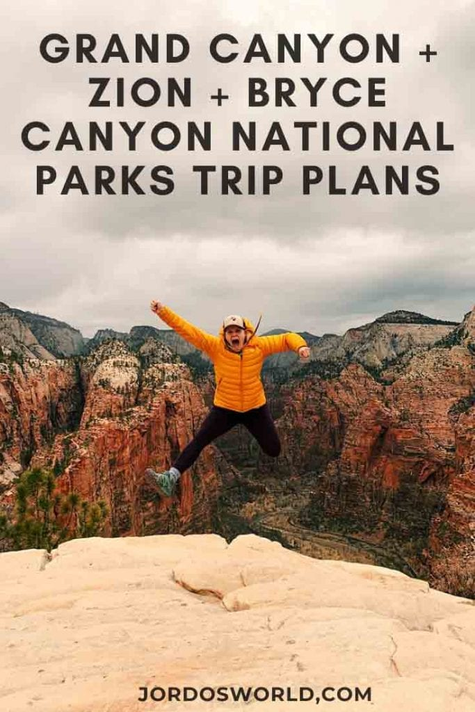 This is a pinterest pin for the national parks trip post. There is a girl with black leggings and a yellow coat jumping up in the air.