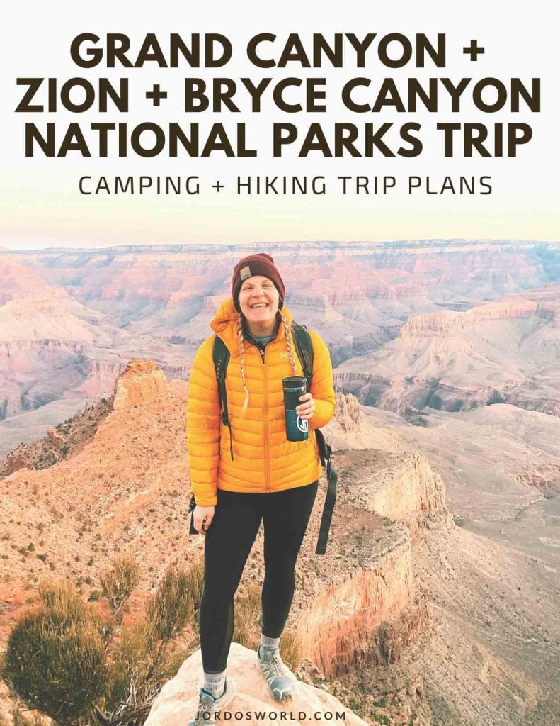 This is a pinterest pin for the national parks trip post. There is a girl with black leggings and a yellow coat standing in front of the grand canyon.
