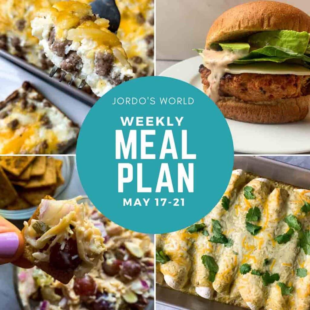This is a cover photo for weekly meal plan 4. There is pictures of some of the meals (hashbrown casserole, chicken salad, turkey burgers, and enchiladas). The meal plan title is in the middle of the post.