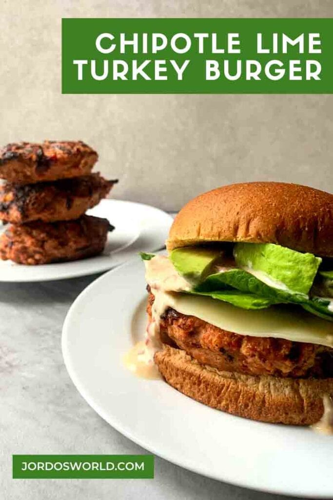 The is a pintrest pin for Chipotle lime turkey burgers