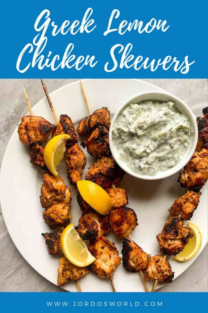 The is a pintrest pin for Greek Lemon Chicken Skewers