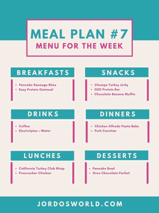 This is meal plan #7. There is a menu for the week on the page, broken down my meal. Each meal has two options in the category.