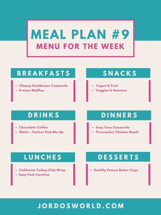 This is meal meal #9. There are meal categories with breakdowns for the meals.