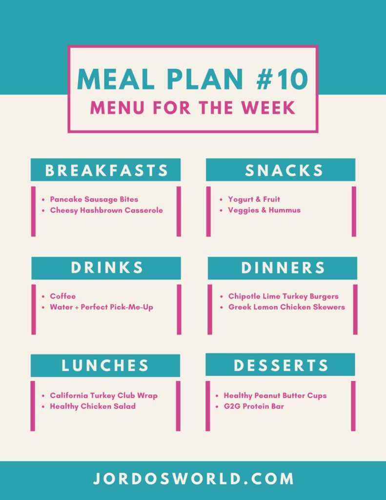This is a picture of meal plan #10. There are meals with two recipe options for each meal.