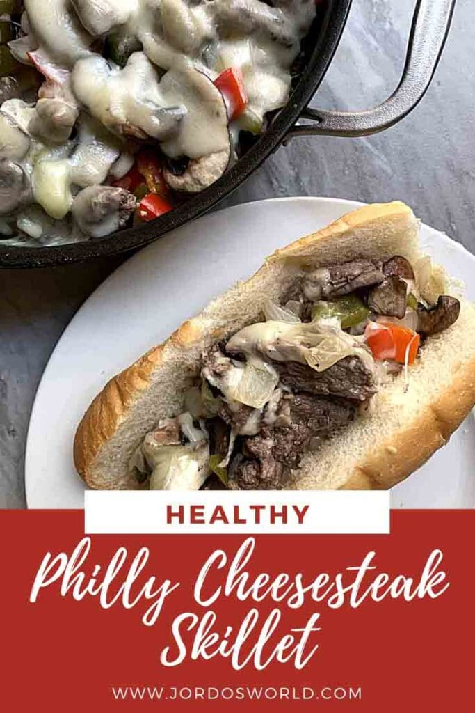 This is a pin for Philly Cheesesteak Skillet