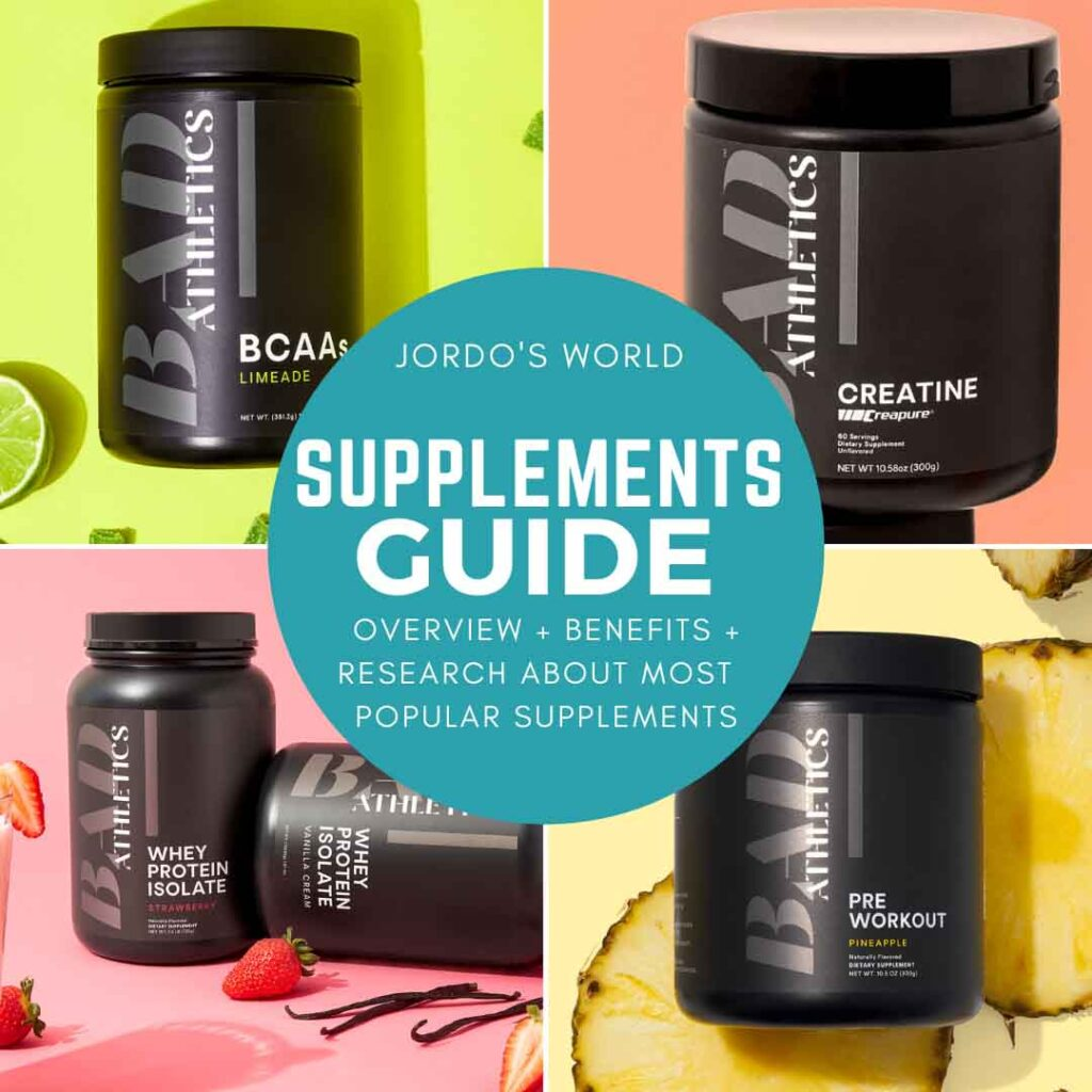 This is a pinterest pin for the supplements guide. There are 4 pictures of popular supplements in a square.