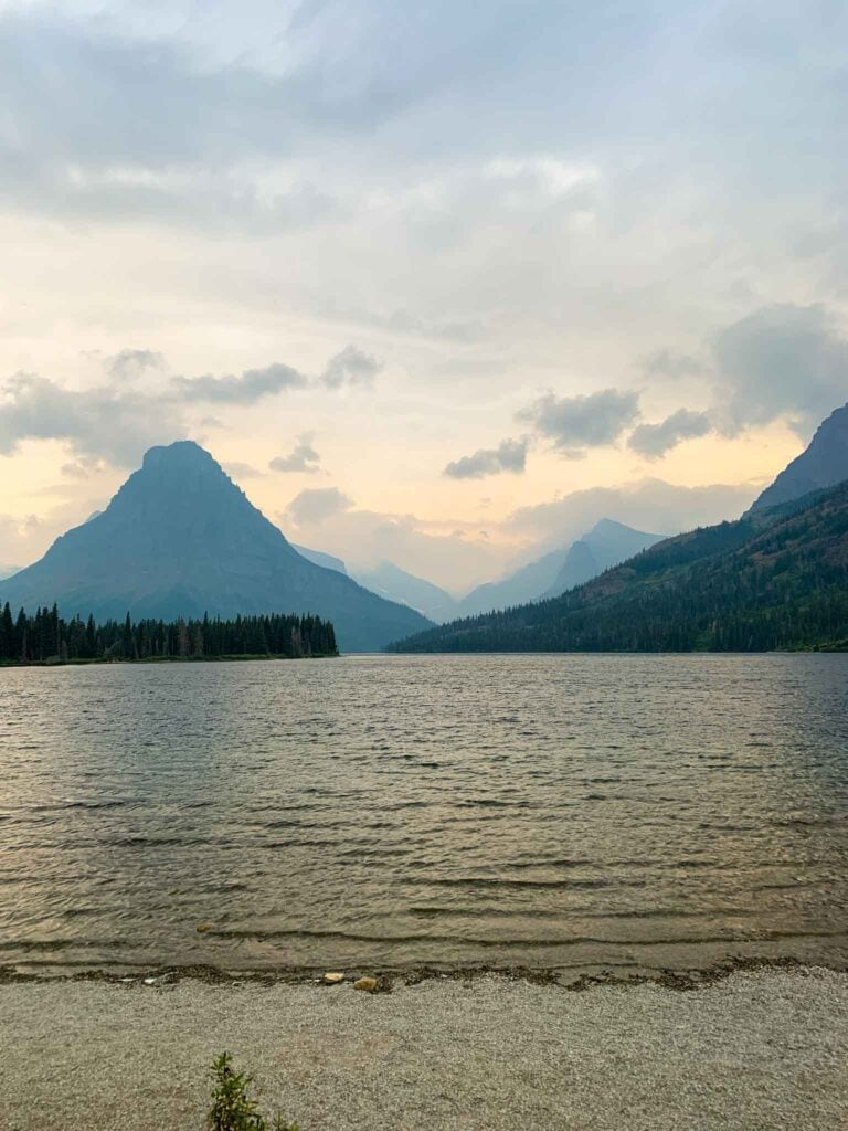 This is a picture of two medicine lake in the two medicine area in glacier national park.