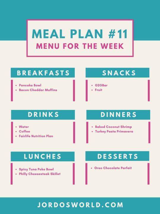 This is meal plan 11. There are meal plans with recipes listed for each meal.