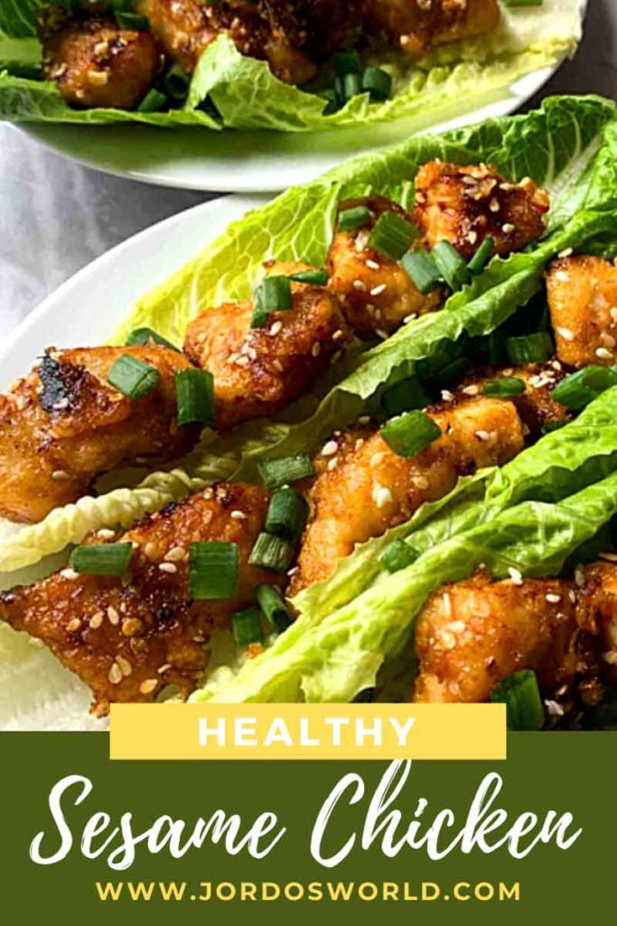 This is a pinterest pin for healthy sesame chicken lettuce wraps. There is a lettuce wrap with the chicken, and the title of the recipe on top.